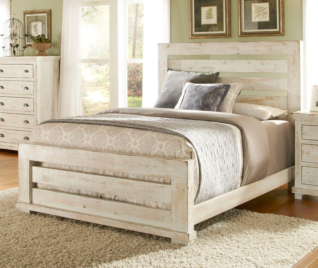 willow slat bed (distressed white) | white bedroom set