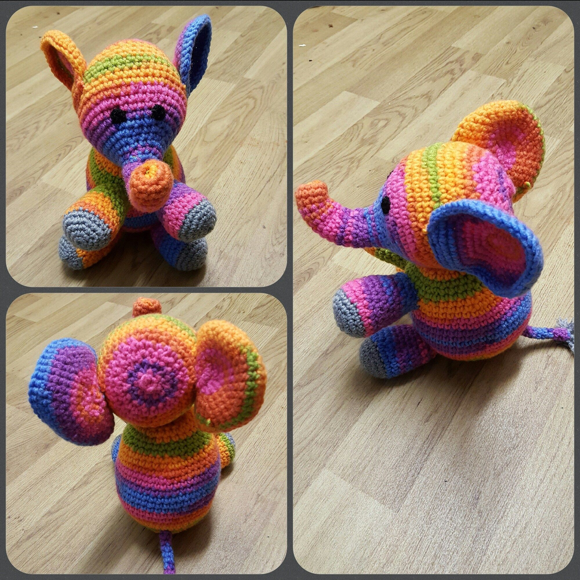 Three small pictures of an elephant made in orange, green and blue varigated yarn. Shot from the front, the back and the side