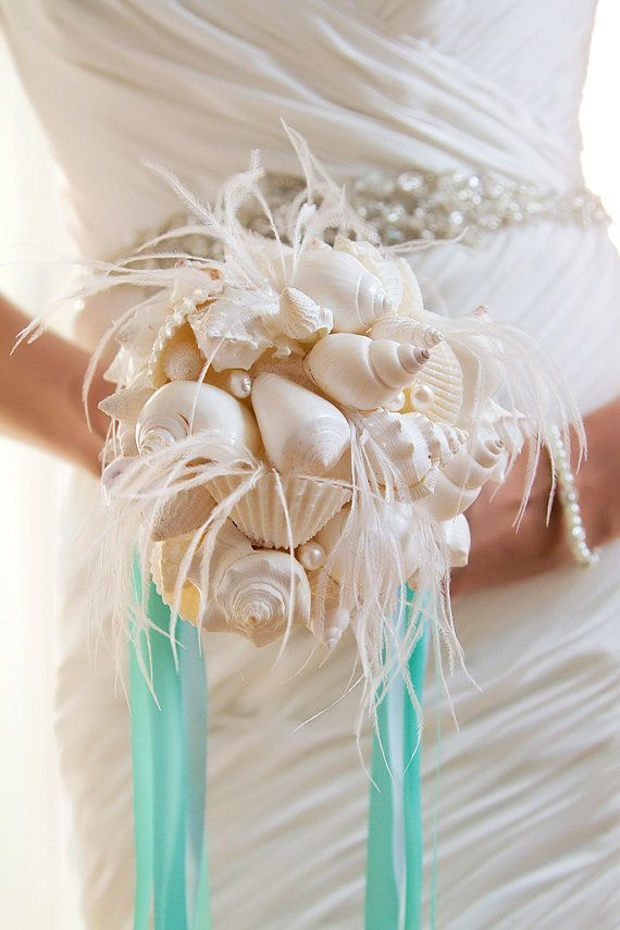 feather fans for weddings feather bouquet with seashells