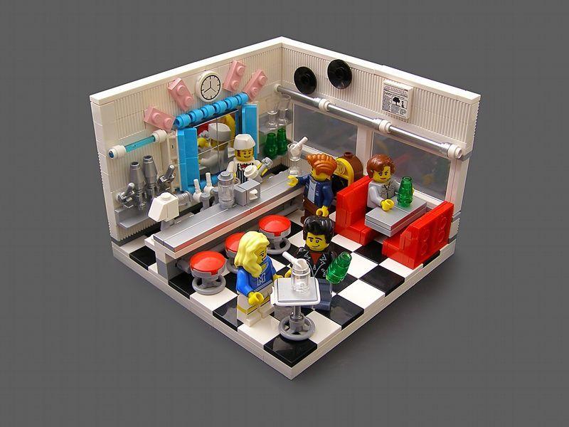 Vignette  The Legohaulic  50s Soda Shop LEGO Vignette  The Legohaulic  50s Soda Shop LEGO