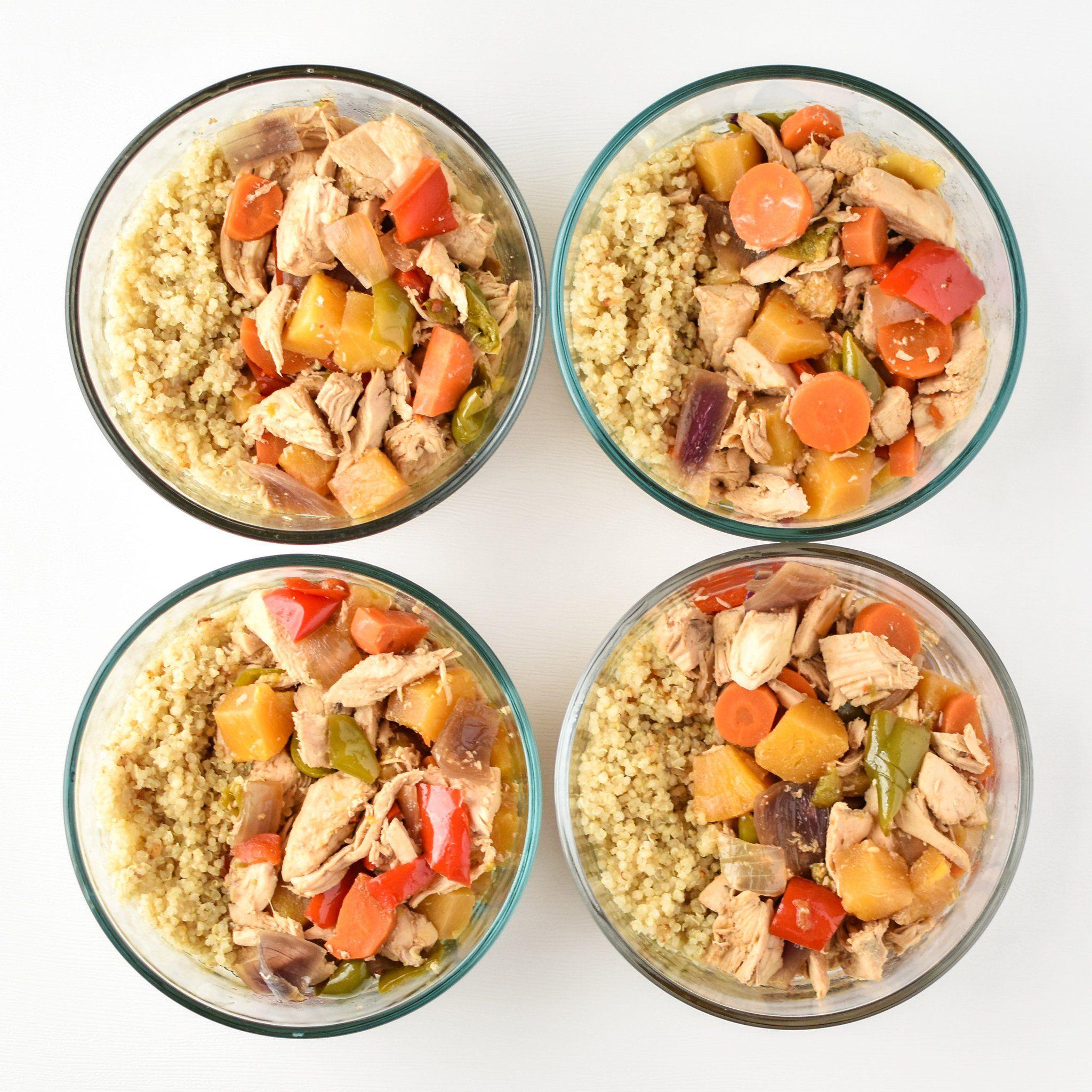 Meal Prep Slow Cooker Chicken Teriyaki Quinoa Bowls
