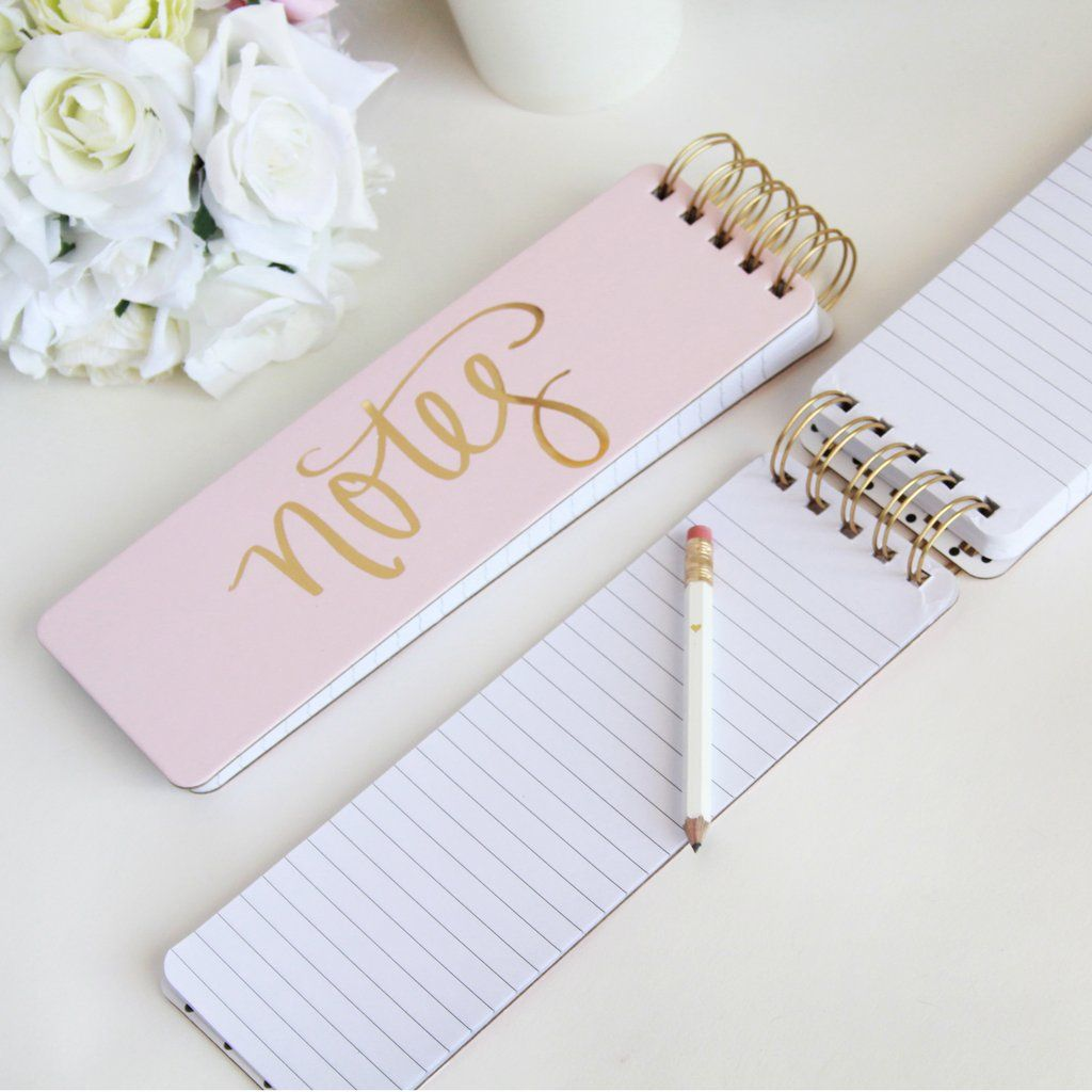 Pink & Gold Foil Spiral Notebook In 2020