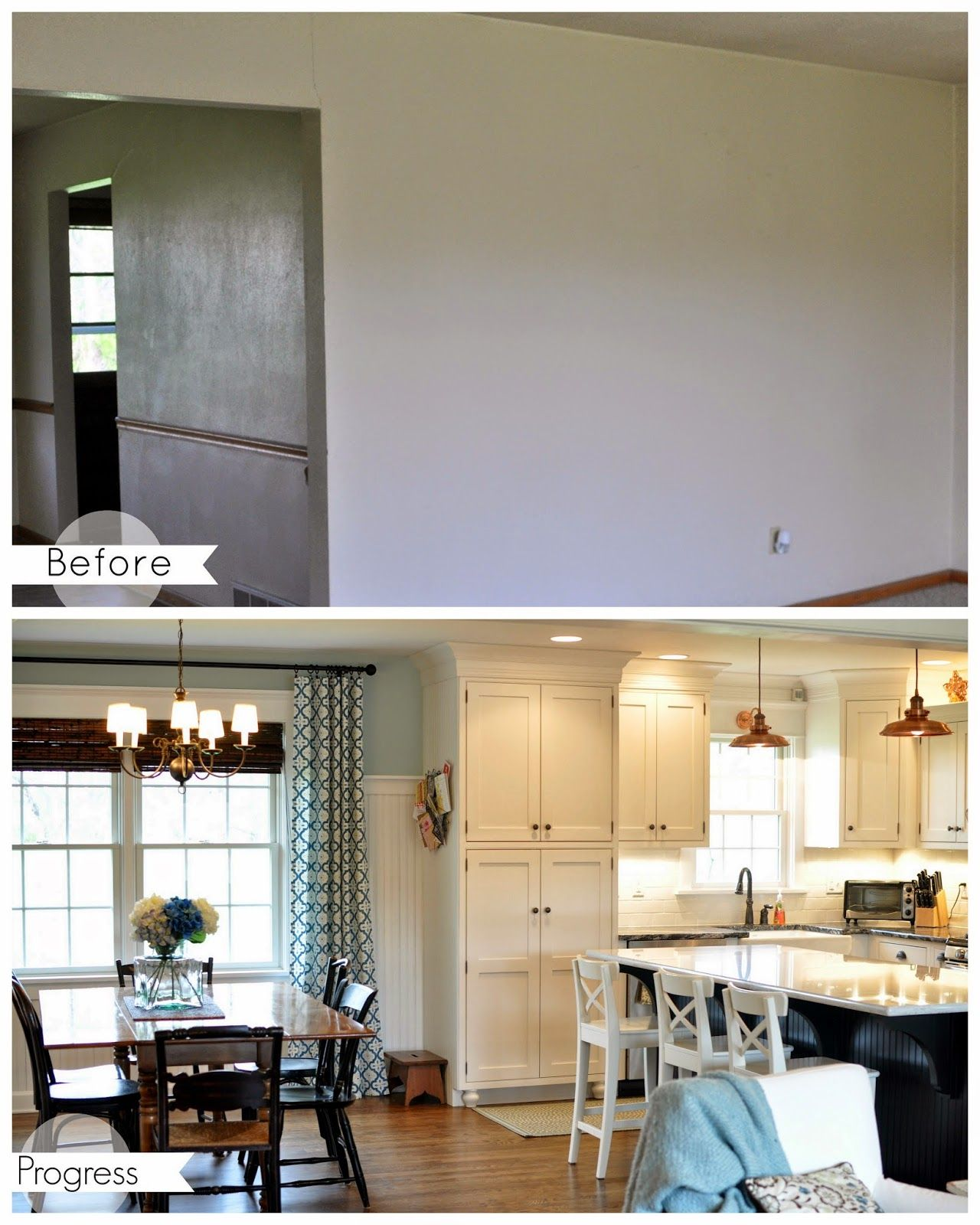 Dining Room And Kitchen Before And After House Tour Knocking Down Two Walls Opening Up