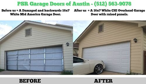 Before And After Shot Of A Damaged Mid America Door Replaced With A Chi Overhead Garage Door Garage Doors Doors Overhead Garage