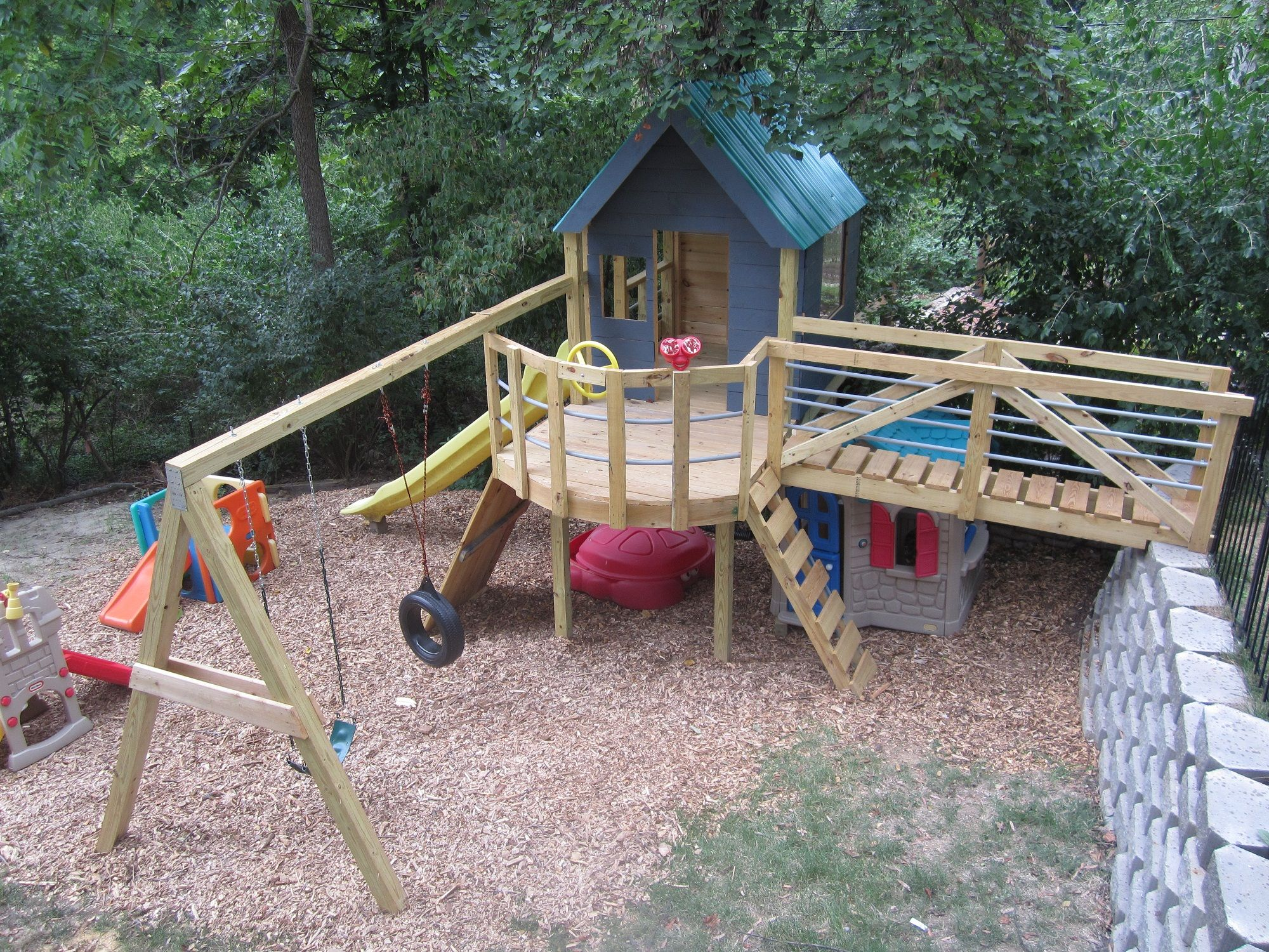 Treehouse And Swingset With Bridge Playset Pinterest Backyard