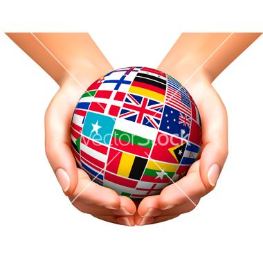 Flags Of The World In Globe And Hands Vector Image On Vectorstock Flags Of The World Globe Playing Cards Design
