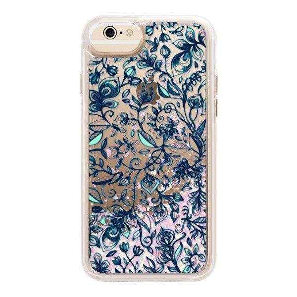 iPhone 7 Plus/7/6 Plus/6/5/5s/5c Case - Teal Garden - transparent... (€43) ❤ liked on Polyvore featuring accessories, tech accessories, iphone case, transparent smartphone, teal iphone case, floral iphone case, transparent iphone case and iphone hard case