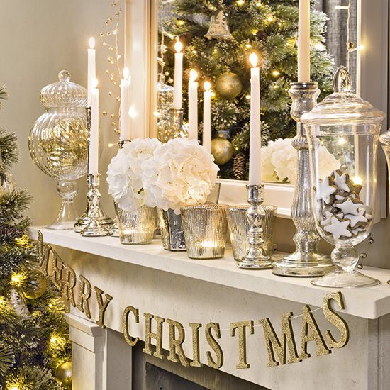 Christmas Living Room With Silver And Gold Mantel Display Ideal Home Gold Christmas Decorations Christmas Fireplace Decor Christmas Mantel Decorations