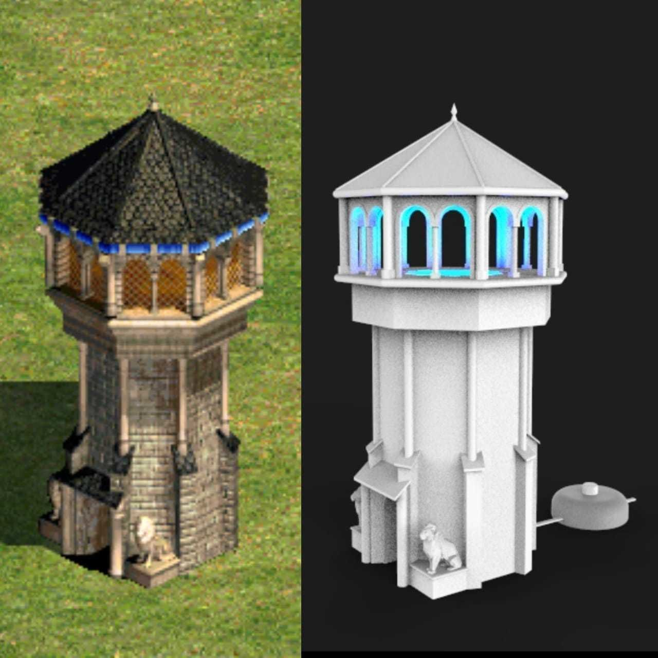 Tower Lamp Age Of Empires 2 Western Europe 3d Print Model In 2020 Age Of Empires Print Models 3d Printing