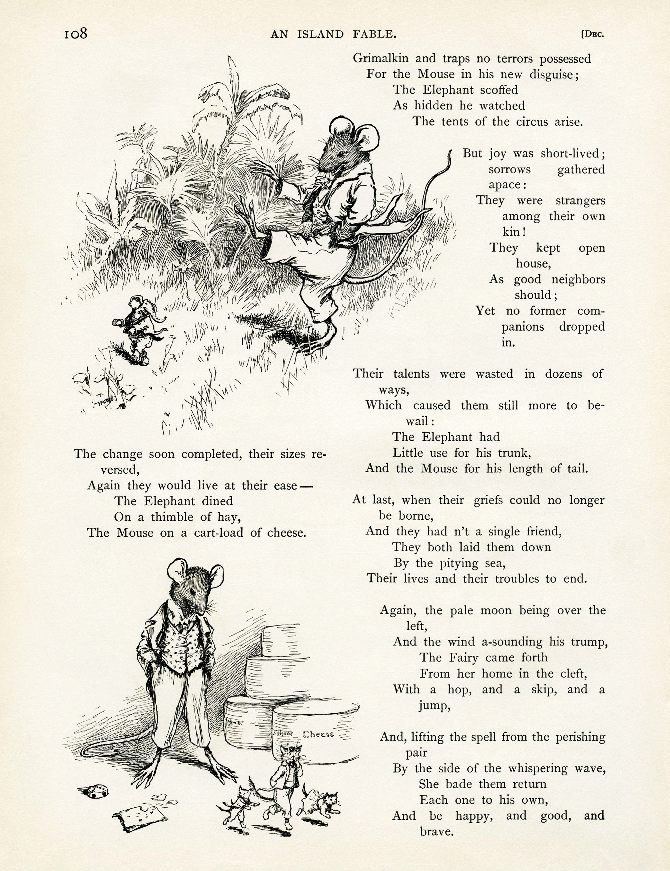 Vintage Storybook Page Elephant Image Mouse Graphic Fairy Illustration Alvred Bayard Island