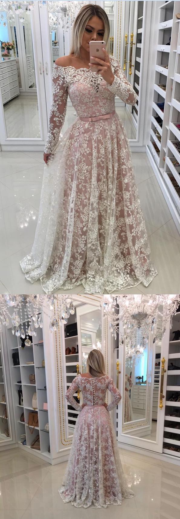 Pink dress design 2018  white long lace prom dress long sleeves prom dress elegant