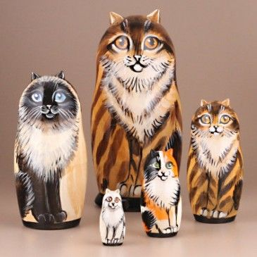 Family of Cats Stacking Dolls