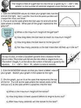 Graphing Quadratic Functions Worksheet For Ti Calculators