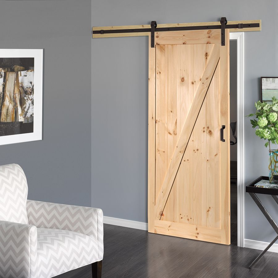 Reliabilt Solid Core Soft Close Pine Barn Interior Door With Hardware Common 36 In X 84 In Actual 36 In X 84 In Lowes Com Doors Interior Wood Doors Interior French Doors Interior