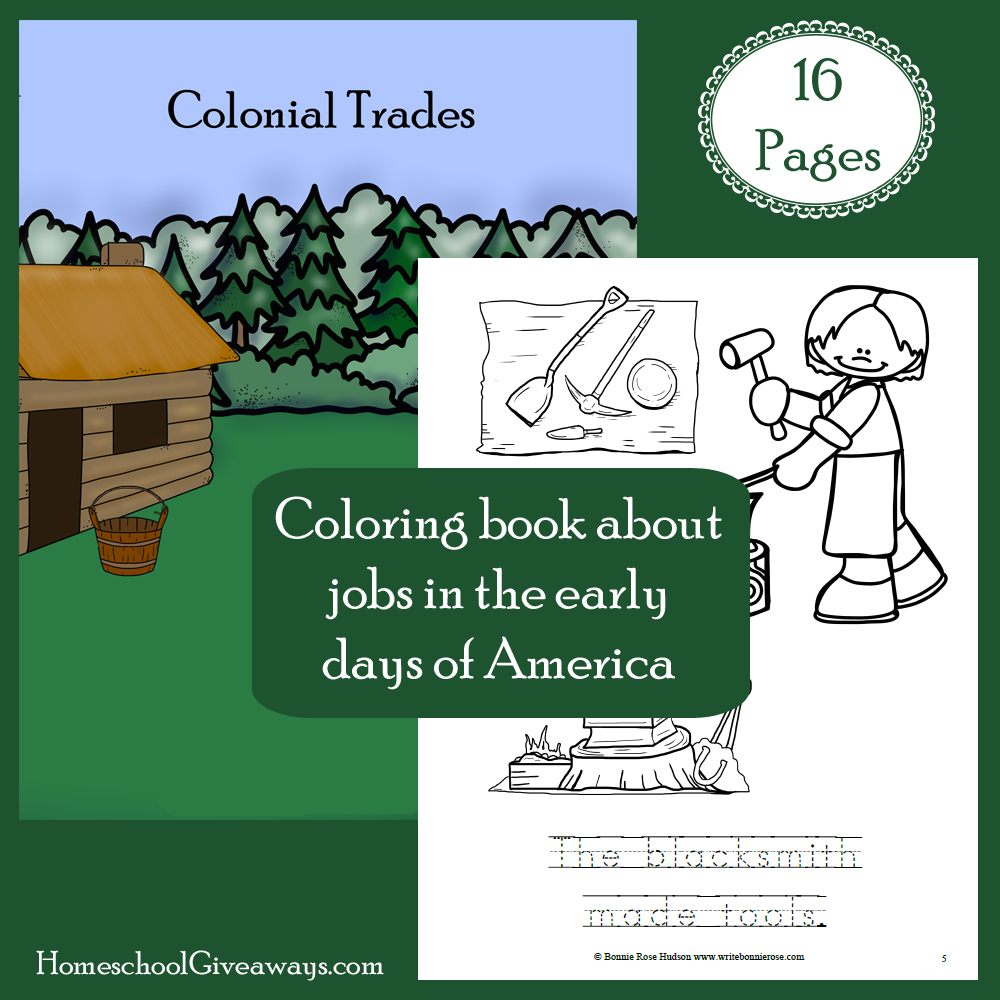 Colonial Trades Coloring Book Free on Homeschool Giveaways ...