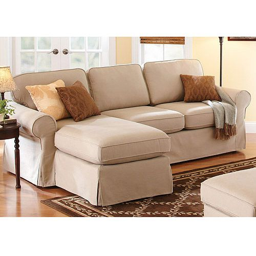 Better Homes And Gardens Slip Cover Chaise Sectional Beige Great For Small Es So Sweet My Sunroom