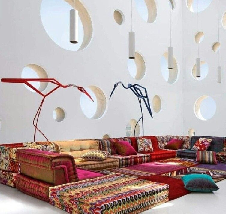 Bright Floor Cushions White Walls Modular Sofa Modern Modular