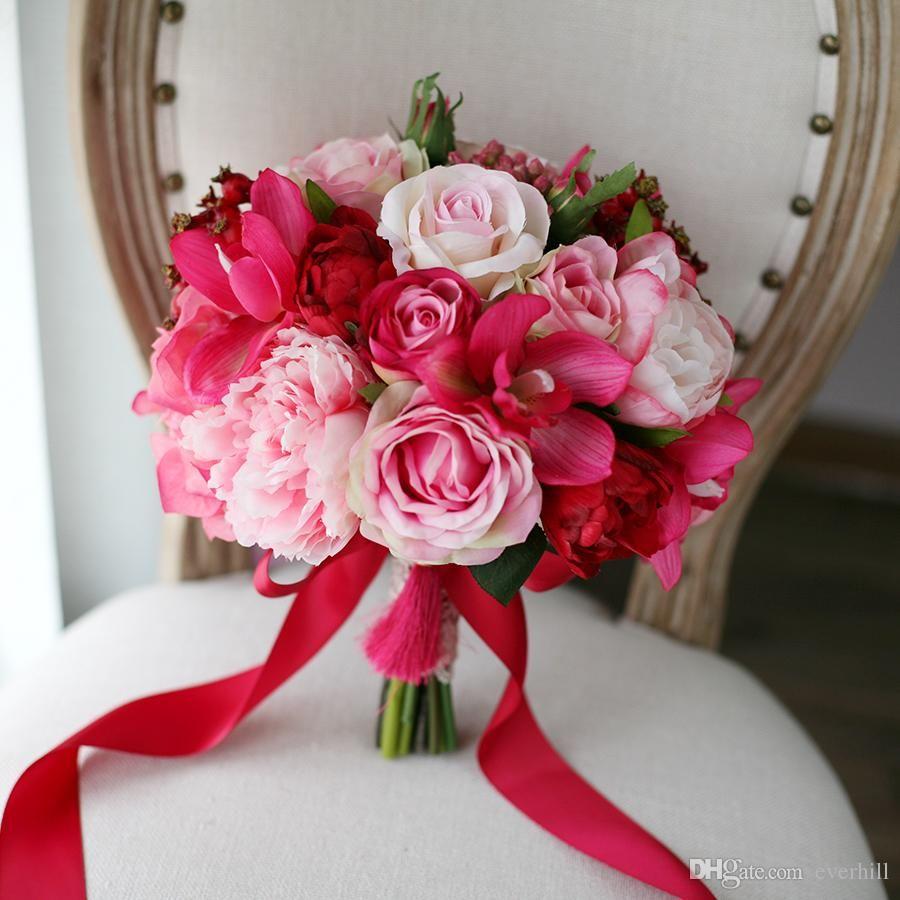 Jane Vini 2018 New Outside Wedding Bridal Bouquet Pink Artificial ...