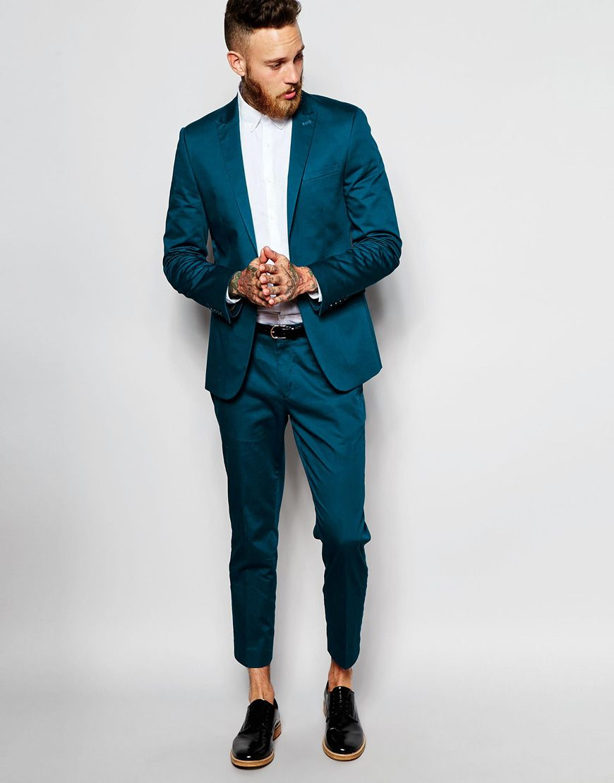 Asos Skinny Suit In Teal Cotton Sa