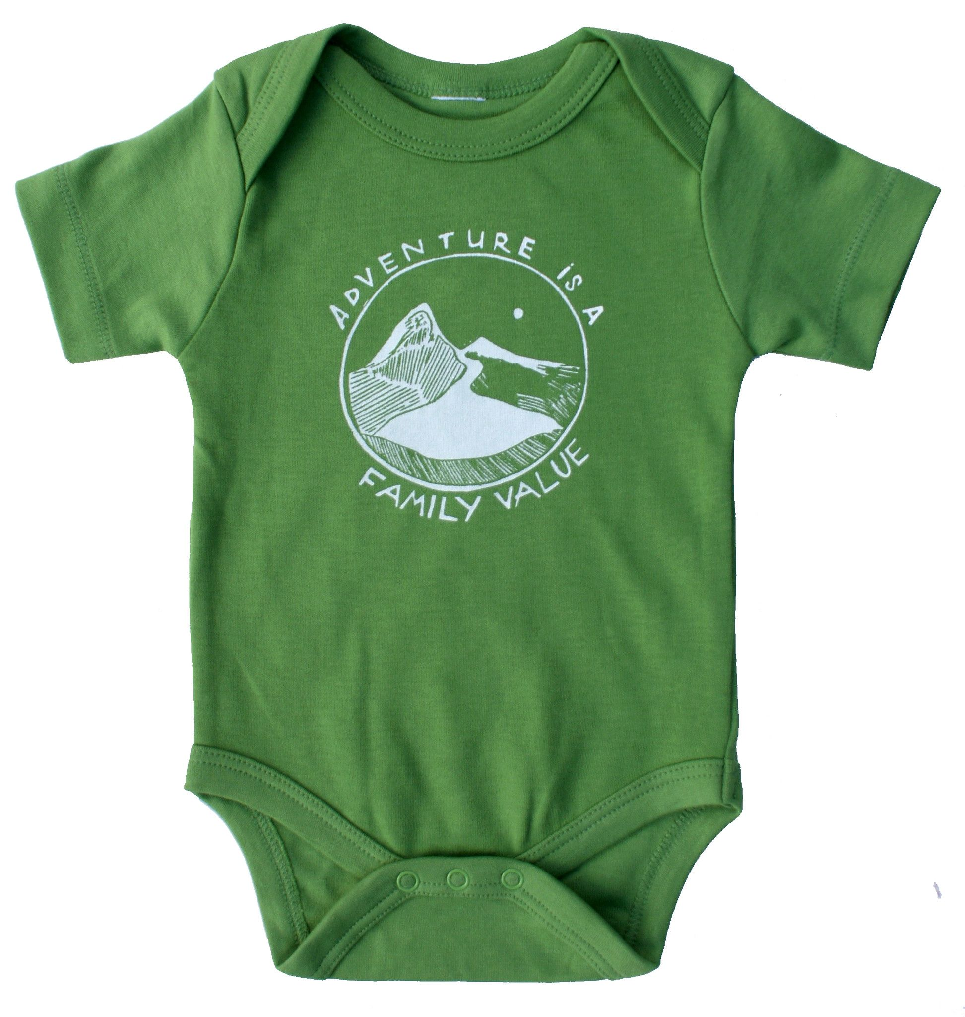 Adventure Is A Family Value Organic Cotton One Piece In Grass