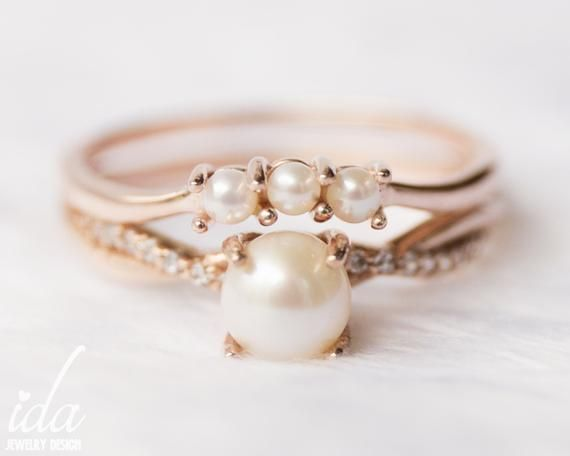 Photo of 14k Rose Gold Pearl Engagement Ring Set, Pearl Ring, Wedding Band, Wedding Ring Set, Diamond Engagement Rings for Women – Wedding