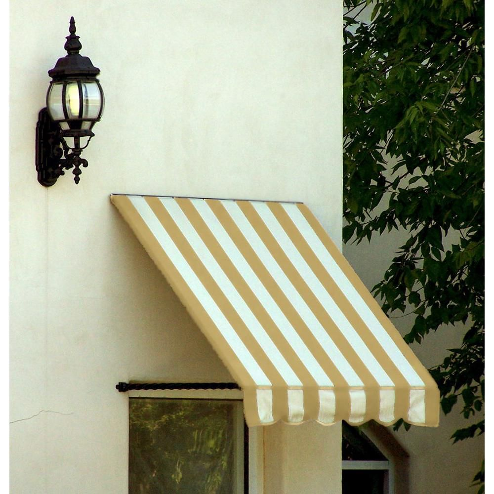 Awntech 5 38 Ft Wide Santa Fe Twisted Rope Arm Window Entry Awning 31 In H X 24 In D Linen White St22 5lw The In 2020 Window Awnings White Linen Living Locket