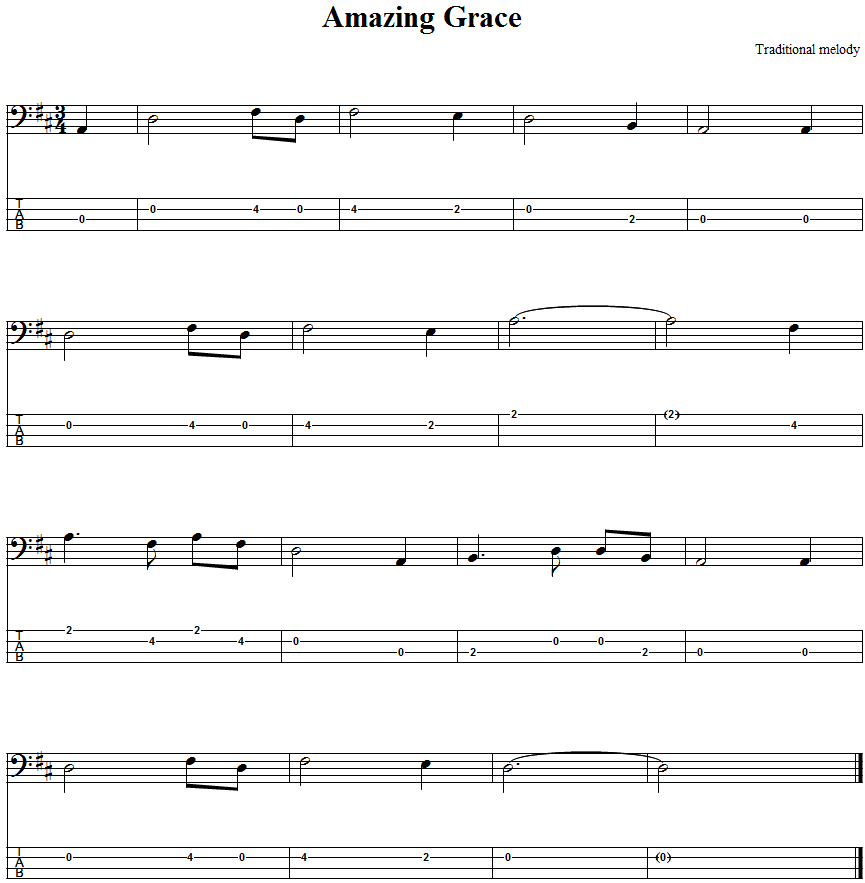 Guitar guitar lyrics : Amazing Grace Bass Guitar Tab - http://bassguitartab.org/music ...