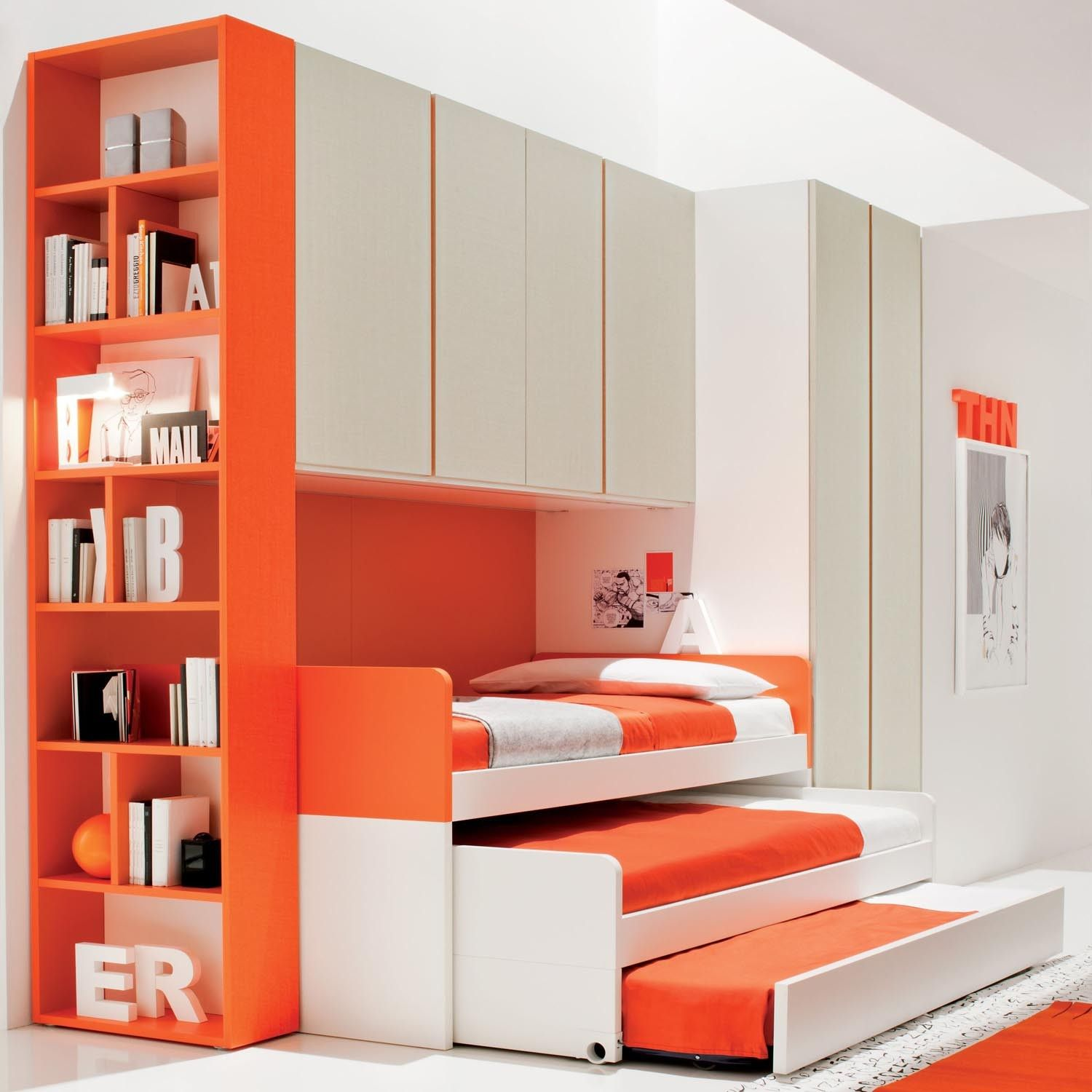 Modern Three Level Trundle Beds For Kids Using Orrange Bedding Sheet And  Orange Stained Wooden Bookshelf