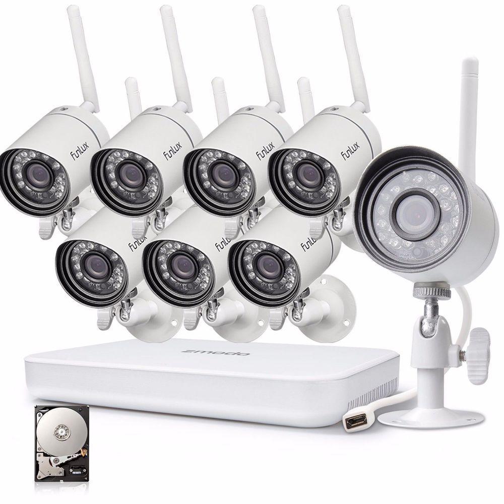 Zmodo Home Surveillance System 1080p 8CH NVR 8 WiFi Camera Outdoor ...