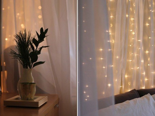 Pull your white holiday lights out of storage and keep them up year-round. | 17 Ways To Cozy Up Your Home For $0