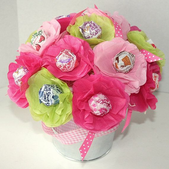 spring summer Tissue Paper Flowers Personalized Party Favor Lollipop ...