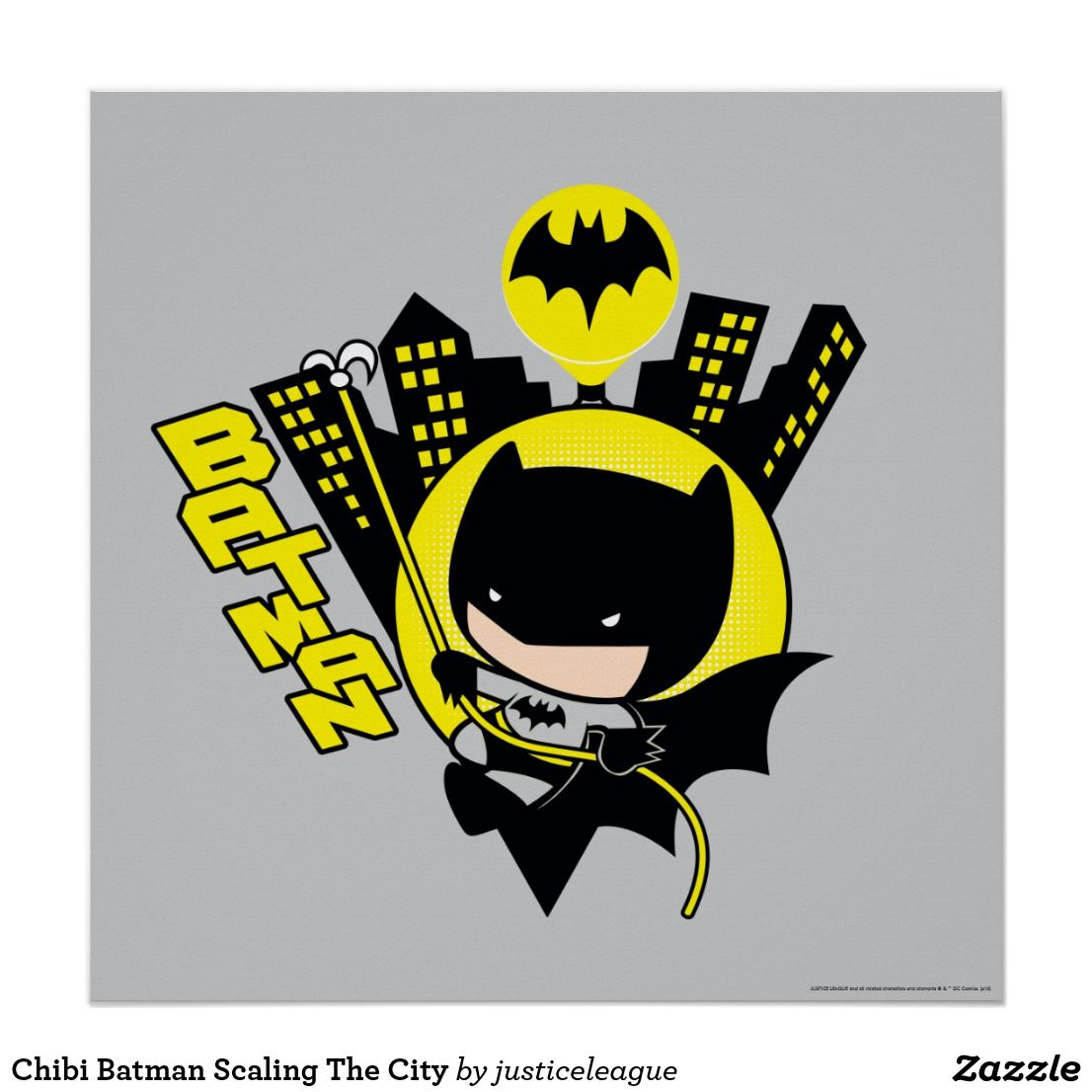 Chibi Batman Scaling The City Poster Zazzle Com Chibi Batman Batman Wallpaper