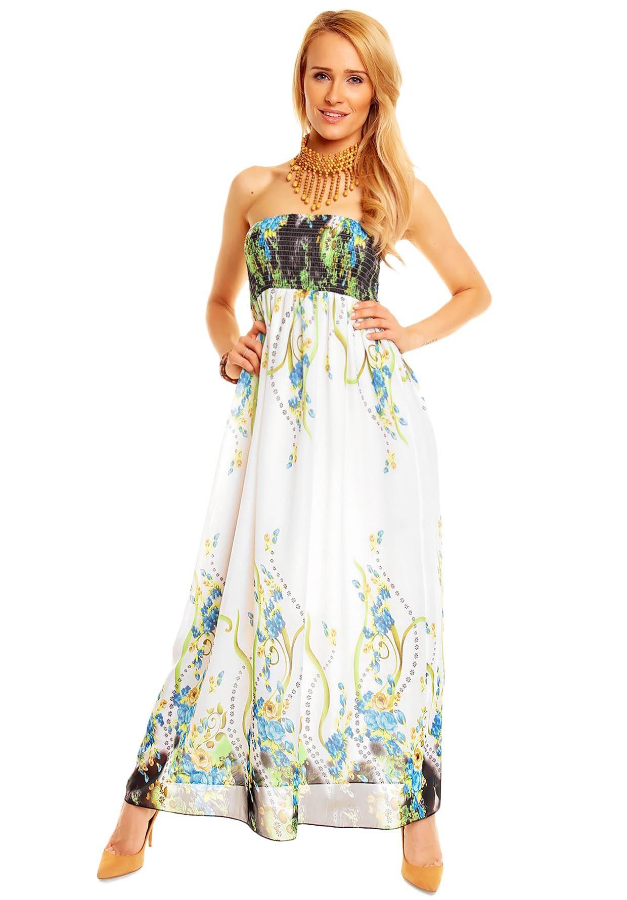 9b0dadd03f03 abiti estivi floreali | Abito a Fascia Lungo Donna Fantasia Verde Blu  Bianco .