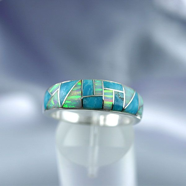 Native American Jewelry Turquoise Amp Opal Inlay Ring