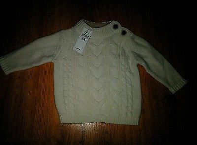 f2af9281b NWT Baby Gap Boy s Ivory Frost Cable Knit Sweater Size 3-6 Months ...