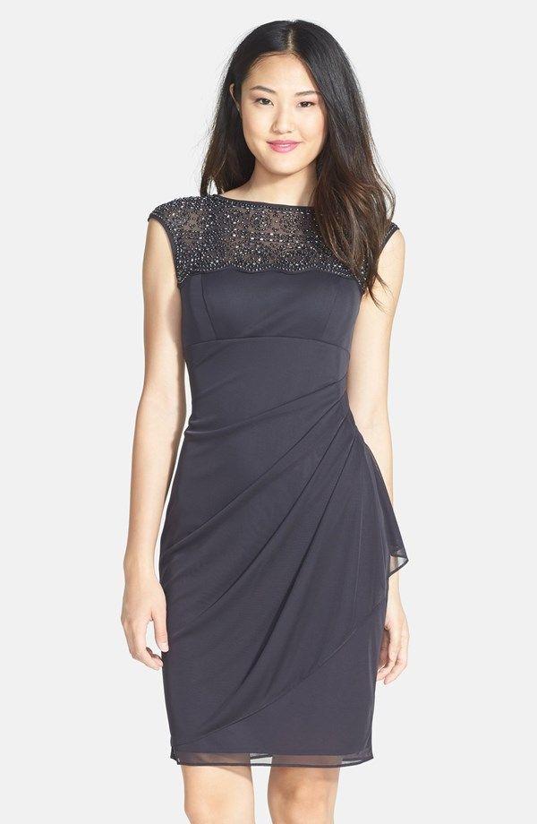 Xscape Beaded Jersey Sheath Dress | Nordstrom