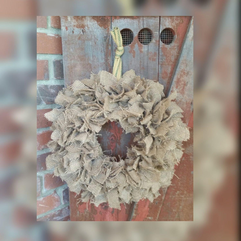 Items Similar To Handmade Rustic Brown Burlap Holiday Rag Wreath