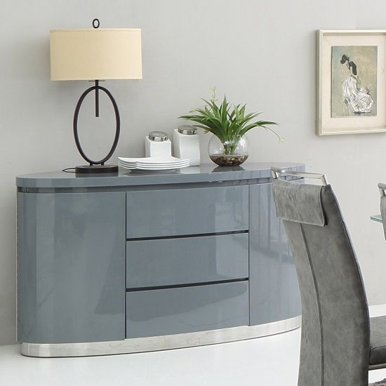 Best Cruise Modern Sideboard In Grey High Gloss With 3 Drawers 400 x 300