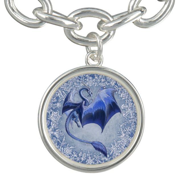 Blue Dragon of Winter Fantasy Nature Art Charm Bracelet