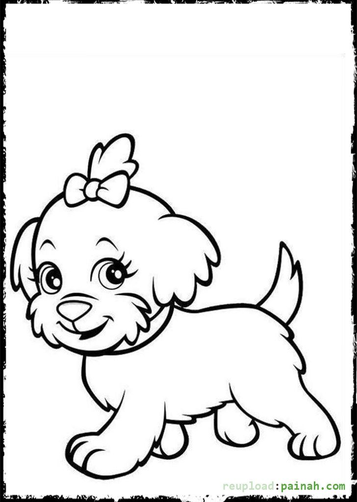 Cute Puppies Coloring Pages For Kids Dengan Gambar Gambar