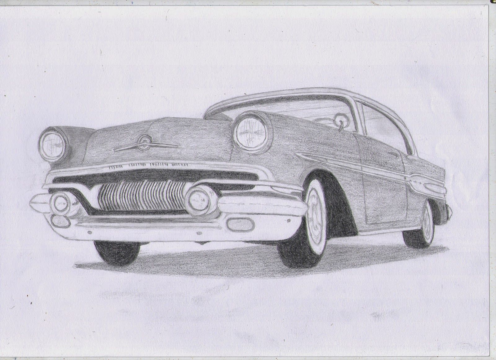 Classic Car Drawings: 1957 Pontiac Chieftan Original Pencil Drawing  classiccard…