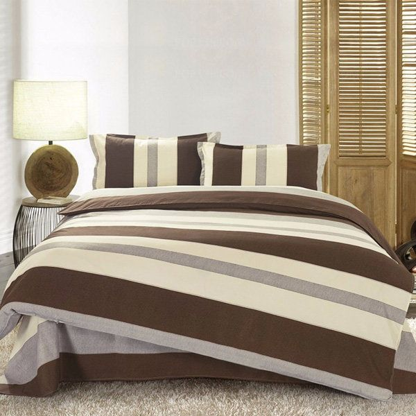 3 Or 4pcs Stripe Cotton Blend Paint Printing Bedding Sets Twin Full Queen Size - Newchic