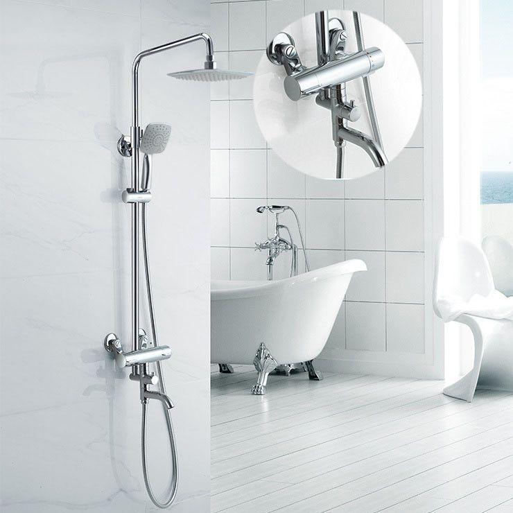 Buy Luxury High Quality Bathroom Chrome Rain Shower Set Thermostatic ...