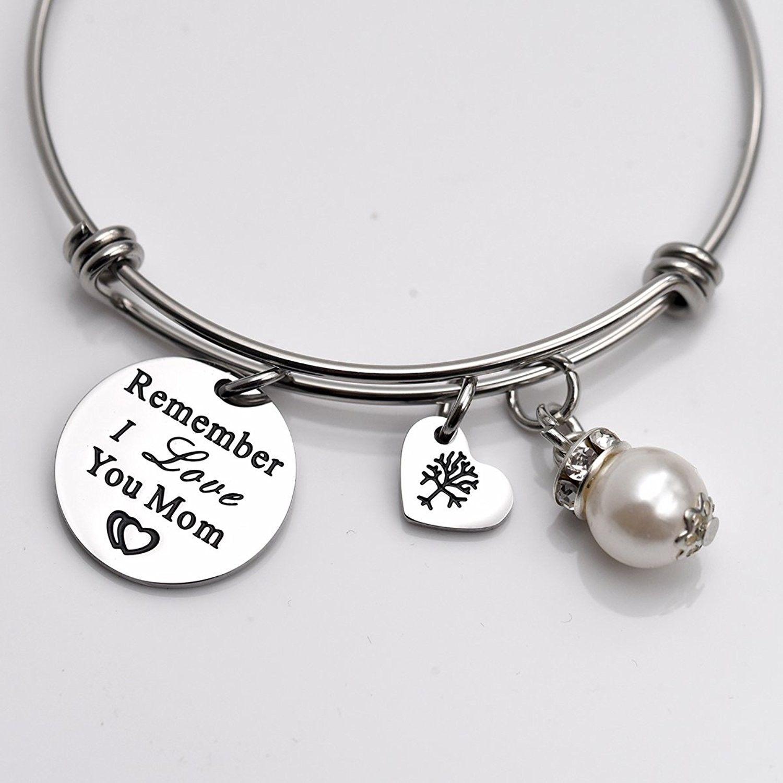 3013b0dcaa6b Remember I Love You Mom Gift for Mom Mother Bangle Bracelet Family Tree  Charm bracelets for Women - White - CI1895OW3YU - Home