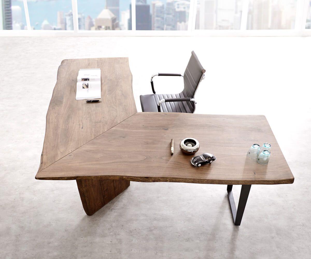 Schreibtisch Live Edge 170x170 Akazie Braun Gestell Schwarz