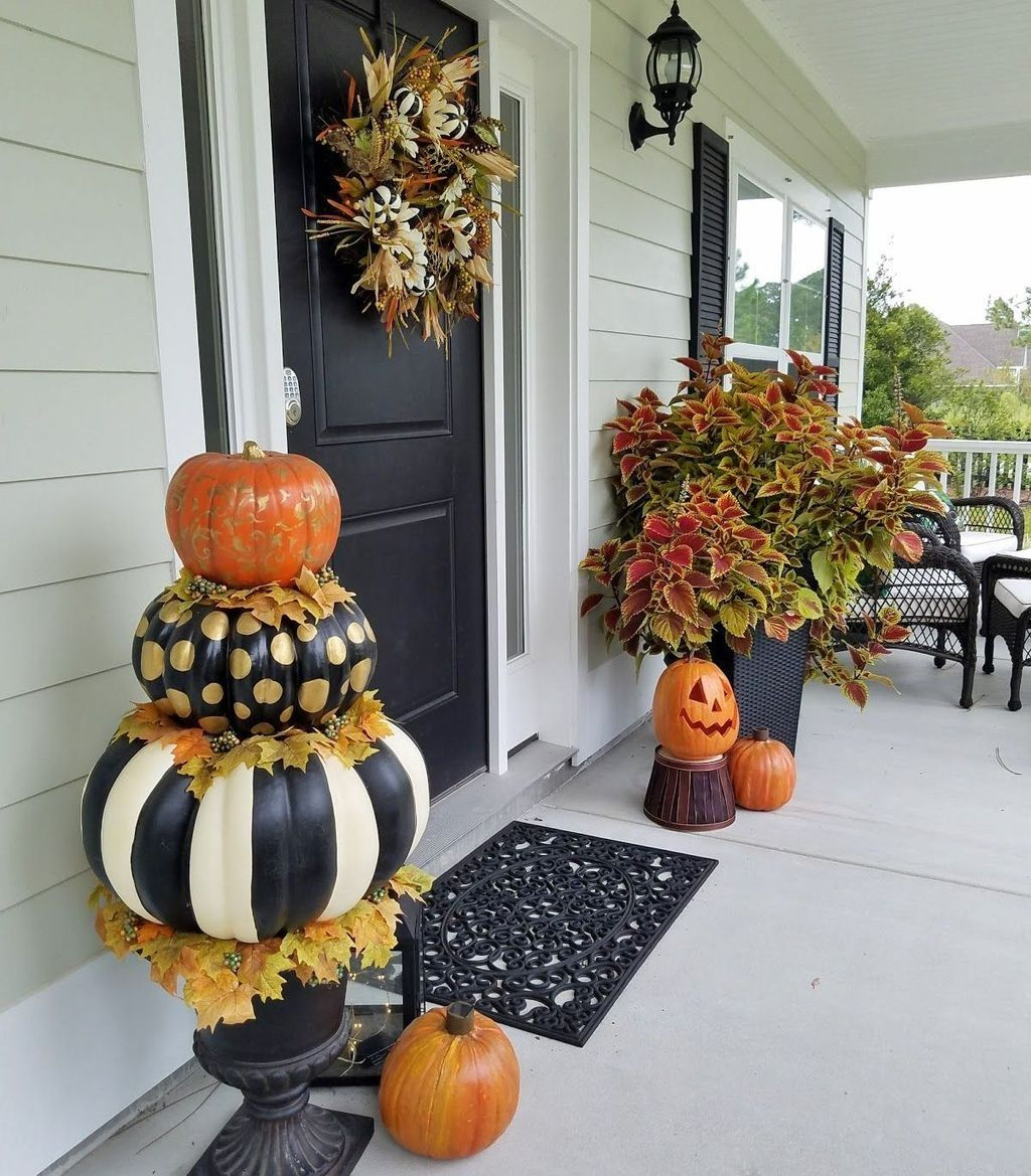 Pin By Kristi Sugg On Make And Do Fall Decorations Porch Fall Outdoor Decor Fall Front Porch Decor