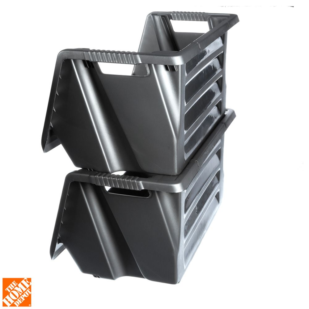 husky stackable storage bin212327 the home depot