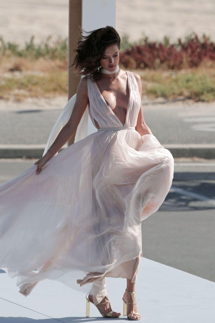 Alessandra Ambrosio Nipple Slip On A Photo Shoot