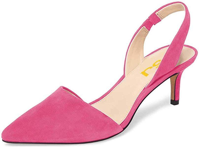 Amazon Com Fsj Women Fashion Low Kitten Heels Pumps Pointed Toe