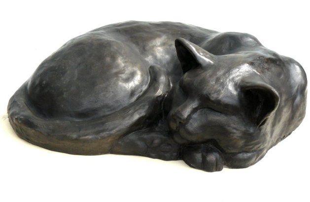 Sleeping cat - Bronze sculpture by Peter Close